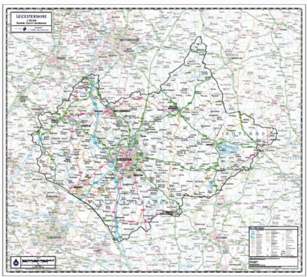 Leicestershire County Wall Map